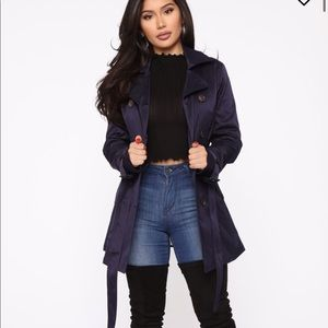 Fashion Nova Warming My Heart Trench Coat - Navy
